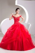 Off-The-Shoulder Ruffled Corset Back and Ball-Gown With Appliques
