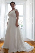 A-Line Floor-Length V-Neck Short Sleeve Chiffon Sweep Train Ruching Dress