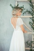 A-Line Jewel Neck Cap Sleeve Chiffon Gown With Sash and Deep-V Back