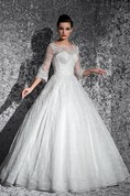 Ball Gown Maxi Bateau Puff-Sleeve Illusion Lace Dress With Appliques