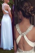 Sexy Cross Back White Long Chiffon Prom Dress With Beadings