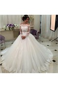 Off-shoulder Tulle Ball Gown With Lace Bodice and Long Sleeves
