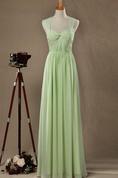 Sweetheart Pleated A-line Chiffon Long Dress With Back Keyhole