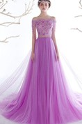 A-Line Off-the-Shoulder Short Sleeves Beading Lace Sequins Prom Dress