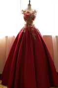 Ball Gown Long Scoop Sleeveless Bell Embroidery Lace-Up Back Lace Satin Dress