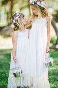 Flower Girl Halter Empire A-line Lace Maxi Dress With Pleated Hem