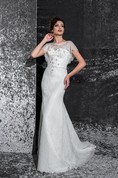 Sheath Long Scoop Poet-Sleeve Illusion Lace Dress With Beading