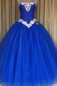 Ball Gown Floor-Length Straps Appliques Zipper Corset Back Straps Tulle Lace Dress