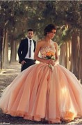 Pink Sexy Tulle Ball Gown Wedding Dresses 2016 Sweetheart Vestidos De Novia Pleated Bridal Gowns With Rhinestones
