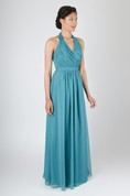A-Line V-Neck Long Pleated Chiffon Classical Dress