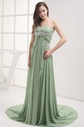Chiffon Pleated Floor-Length Sleeveless Rhinestone and Dress With Ruching