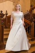 A-Line Floor-Length Off-The-Shoulder Half Sleeve Satin Sweep Train Lace Dress