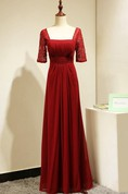 Backless Lace Half Sleeve Pleated A-line Chiffon Long Dress Red