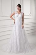Romantic Sleeveless V Neck Satin Appliqued a Line Embellished Wedding Dresses