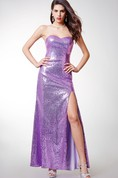 Sweetheart Sheath Gown With Sequins and Side Slit