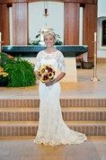 Elegant Illusion Lace Mermaid Wedding Dress Half Sleeve Sweep Train