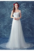 Romantic Tulle Off-the-shoulder Wedding Dress 2016 Lace-up Sweep Train