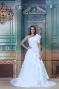 Stylish a Line Sleeveless Satin Taffeta One Shoulder Wedding Dresses