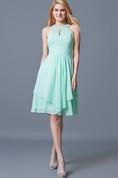 Elegant Sleeveless Tiered Knee Length Chiffon Dress With Keyhole Back