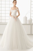 Embroidery Bodice Shoulder Off Gown With Pleats
