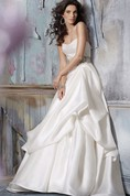 Glamorous Strapless Lace Bodice Satin Organza Pick-up Ball Gown