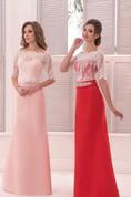 A-Line Floor-Length Scalloped Half Sleeve Satin Lace Beading Low-V Back Dress