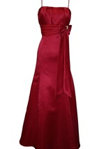 Spaghetti Straps Satin Long Dress With Satin Bow