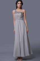 One-Shoulder A-Line Chiffon Dress With Pleats and Rhinestones