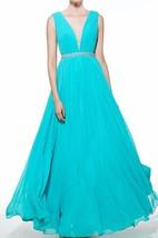 A-Line V-Neck Beading Ruched Floor-Length Prom Dress