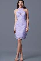 Criss-crossed Halter Neck Form-fitted Short Lace Dress