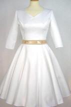 Satin Half Sleeve V-Neck A-Line Dress With Bow Sash