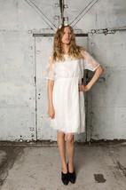 Lace Sheath Short Lace Dress With Three-Quarter Sleeve