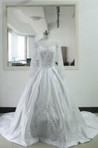A-Line Tea-Length V-Neck Long Sleeve Flower Zipper Lace-Up Back Chiffon Tulle Lace Satin Dress