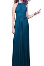 High-neck Ruched Floor-length Chiffon Dress