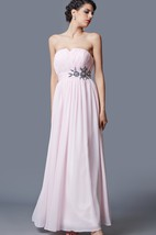 Sleeveless V-cut Neck Long Chiffon Dress With Floral Embellishment