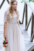 Half Sleeve Lace and Chiffon A-Line Dress With Jewel Neckline