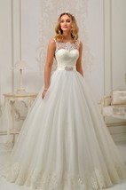 A-line Floor-length Appliques Backless Lace&Tulle Dress With Bow