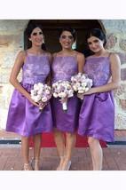A-line Short Spaghetti Square Straps Sleeveless Lace Satin Dress