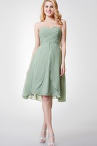 Sweetheart Criss Crossed Knee Length Chiffon Dress With Tiers