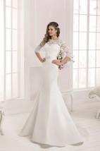 Half Sleeve Lace Top Long Mermaid Dress with Crystal Detailing