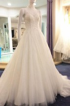 Illusion High Neck Sleeveless A-Line Tulle Dress With Beaded Bodice