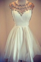 Lovely White Pearls 2016 Short Prom Dress Cap Sleeve Vintage Homecoming Dress