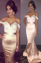 Newest Beadings Mermaid 2016 Prom Dress Sweep Train Off-the-shoulder