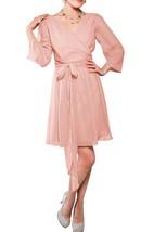 Long Sleeve V-neck Chiffon Short Dress with Bow