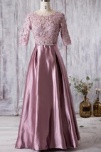 Scoop Neck Half Sleeve A-line Pleated Satin Long Dress With Lace V Back