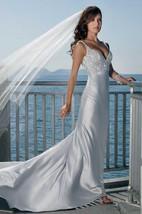 sheath Spaghetti Straps Sleeveless Court Train Elastic Woven Satin Wedding Dress