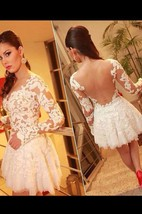 A-line Scoop Long Sleeves Lace Short Tulle Dresses