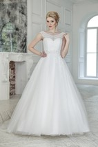 A-Line Floor-Length Scoop Cap-Sleeve Low-V-Back Tulle Dress With Lace And Beading