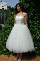 Strapless Lace and Tulle Tea Length A-Line Dress With Lace-Up Back