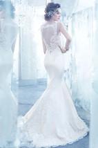 Enchanting V-Neck Lace Bodice Satin Mermaid Dress With Illusion Keyhole Back